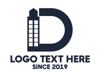 Architecture - Blue Letter D Building logo design