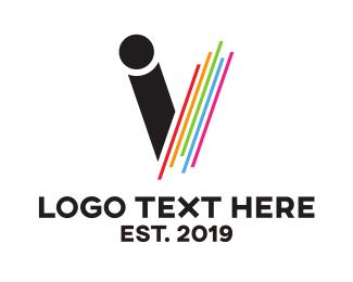 Composer - Colorful Monogram V logo design