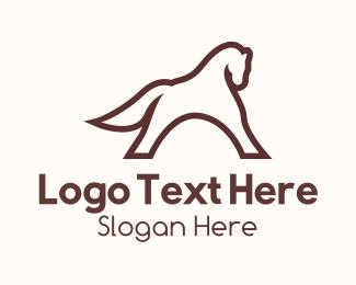 Horse Riding - Brown Horse Outline logo design