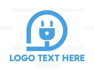 Plug - Blue Pin Plug Outline logo design