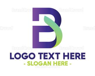 Renewable - Blue B Leaf Stroke logo design