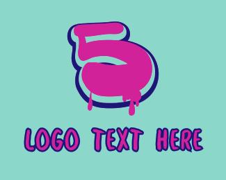 5 - Paint Graffiti Number 5 logo design