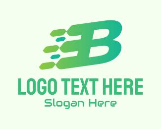 Computer Science - Green Speed Motion Letter B logo design