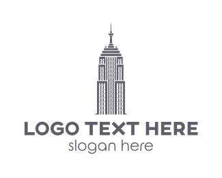 Empire State - Blue American Skyscraper logo design