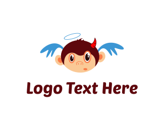 Horns - Angel & Devil Monkey logo design