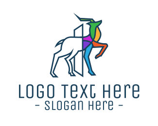 Gazelle - Multicolor Outline Deer logo design