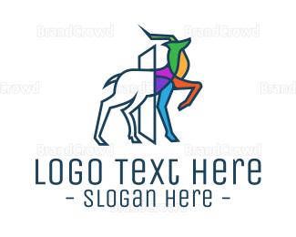 Multicolor - Multicolor Outline Deer logo design