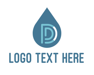 Drain - Water Drop Letter D logo design