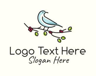 Perch - Minimalist Sparrow Branch  logo design
