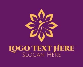 Theraphy - Luxurious Golden Flower Spa logo design
