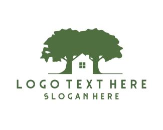 Wood - House & Trees logo design