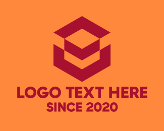 Geometrical - Red Geometric Cube logo design