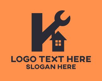 Labour - Housing Construction Letter K logo design