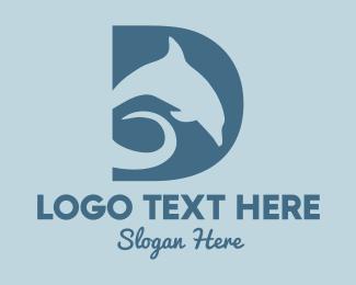 Ocean Park - Dolphin Letter D  logo design