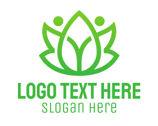 Leisure - Green Leaf People logo design