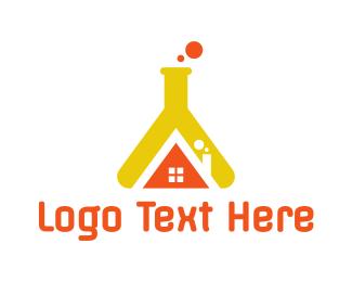 Bio Chem - Flask House logo design