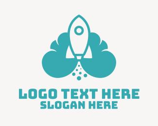 Space Exploration - Blue Rocket Launch Cloud logo design
