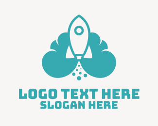 File Transfer - Blue Rocket Launch Cloud logo design