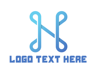 Letter N - Abstract Blue Letter N logo design