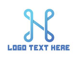 Letter N - Abstract Blue Letter N logo design