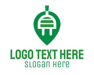 Plug In - Green Electric Leaf logo design