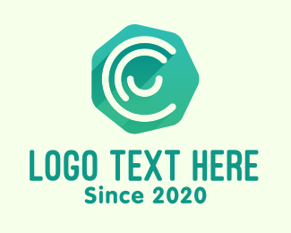 Agency - Green Heptagon Letter C logo design