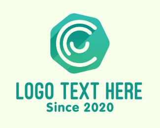 Communication - Green Heptagon Letter C logo design