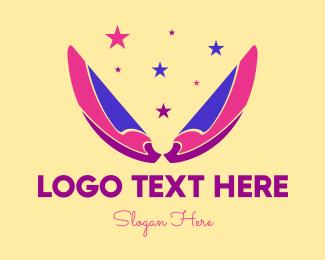 Girly - Pixie Fairy Magic Wings logo design