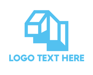 Structure - Cyan Blue Geometric Structure logo design