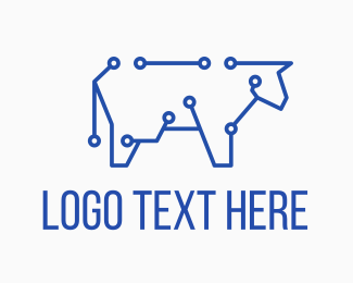 Blue Cow - Blue Cyber Cow logo design