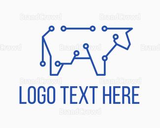 Cyber - Blue Cyber Cow logo design