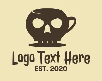 Deadly - Black Skull Mug logo design