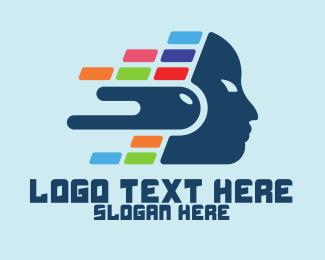 Investment - Digital Colorful Head logo design