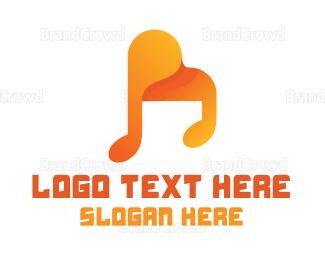 Ballad - Abstract Grand Piano Note logo design