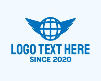 Earth - Blue Global Wings logo design