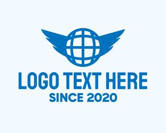 Earth - Blue Global Wings logo design