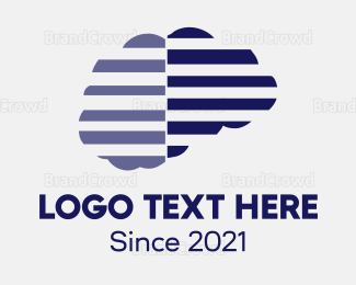 Outlines - Yellow & Grey Brain  logo design