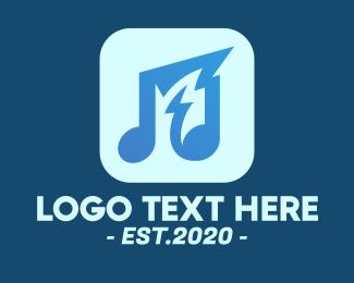 Dj Bar - Loud Musical Note App logo design