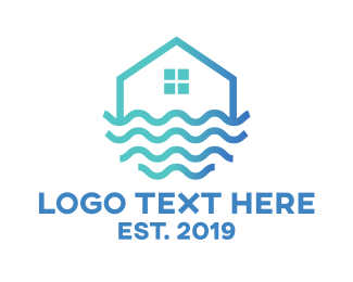 Water - Blue Wavy House logo design