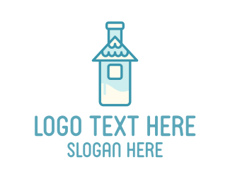 Dairy Farm - Milk Bottle House logo design