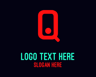"""Red Neon Letter Q"" by BrandCrowd"