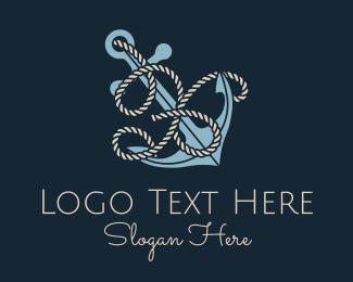 Initial - Anchor Rope Letter X logo design