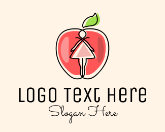 Nutrition - Dress Apple Girl logo design
