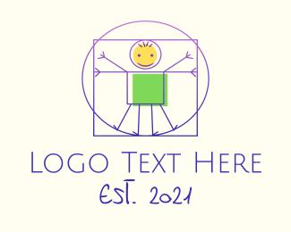 Kiddo - Vitruvian Man Stick Figure logo design
