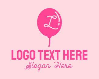 Party Supplies - Pink Party Balloon Lettermark logo design
