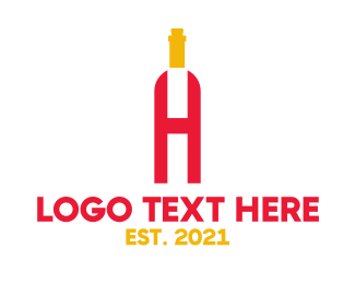 Social Drinker - Red Wine H logo design