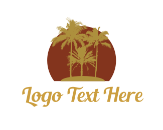 Island - Tropical Palm Trees logo design