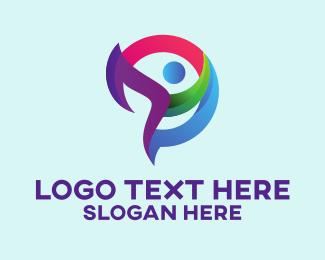 Outsource - Colorful Community Person logo design