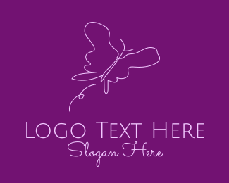 Pink And Purple - Simple Purple Butterfly  logo design