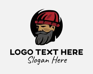 Skater - Hipster Bearded Guy logo design